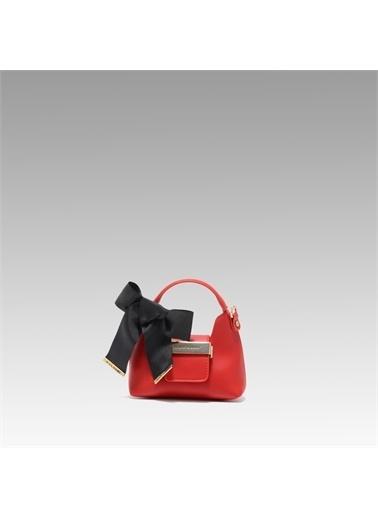 Black Ribbon Aksesuar Detaylı Askılı Micro Çanta Kırmızı